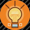 creative idea, energy, idea, light, square icon