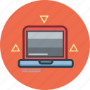 computer, laptop, technology, triangle icon