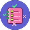 check list, cross, done, success, task icon