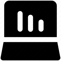 analysis, bar chart, bars, chart, graph, laptop bar graph icon