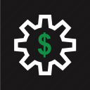 dollar, gear, online, rotate, sign, work, working icon