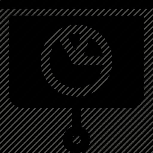 chart, data, pie, presentation, projector, whiteboard icon
