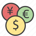 coins, currencies, euro, money, usd, yen icon