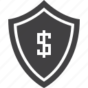 dollar, protection, shield icon