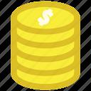 cash, coins, dollar, earnings, money