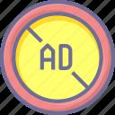 ad, advertising, block icon