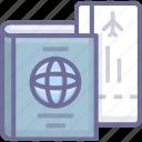 business, passport, ticket, travel icon
