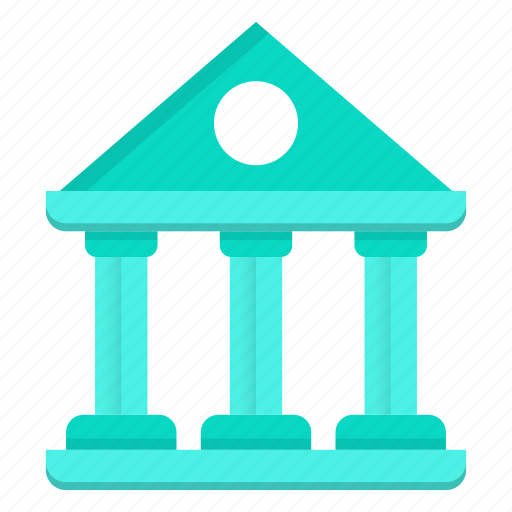 bank, banking, building, finance, green icon