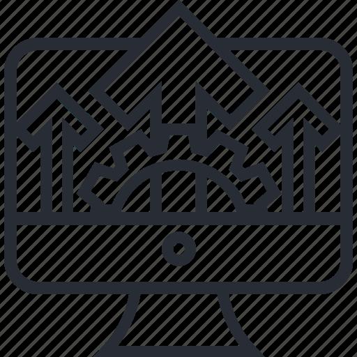 arrow, bar, business, chart, computer, gear icon