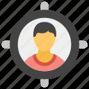 business goal, business target, customer target, target audience, trade target icon