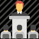 presentation, public speaking, speech, training, workshop icon