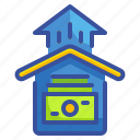 arrow, asset, business, home, house, money, mortgage icon
