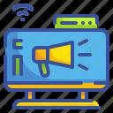 bullhorn, business, commercial, marketing, megaphone, social, tv icon