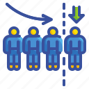 business, company, downsizing, employee, factory, people, reduce icon