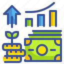 benefits, business, finance, growing, investment, money, profits icon