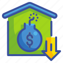 bomb, business, debt, finance, house, liability, money icon