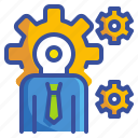 business, businessman, cogwheels, management, manager, options, settings icon