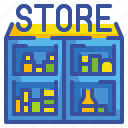 department, prroduct, recruit, sales, shelf, storage, stored icon