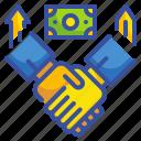 agreement, capital, gestures, hands, money, shake, venture icon