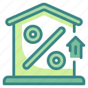 business, discount, finance, house, interest, percentage, sale icon