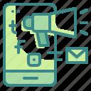 advertising, digital, marketing, megaphone, phone, social, website icon