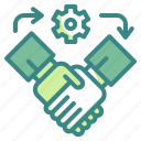 agreement, cogwheel, company, gestures, hands, outsourcing, shake icon