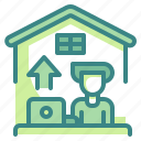 business, home, house, laptop, office, telecommuting, upload icon