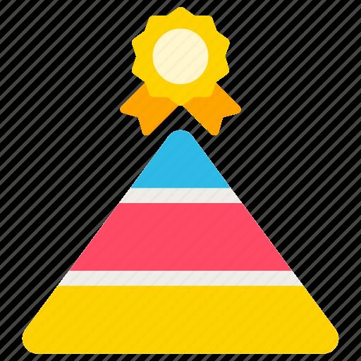 achievement, badge, business, pyramid icon