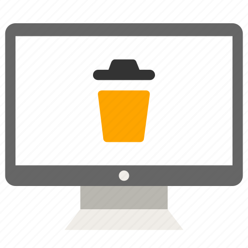 business, computer, monitor, trash icon