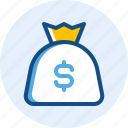 business, dollar, finance, money, pouch icon
