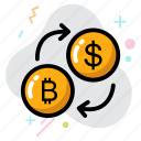 bitcoin, business, dollar, dollar and bitcoin, money exchange icon