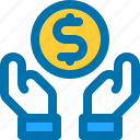business, coin, dollar, hand, money icon