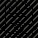 document, eye, file, text icon