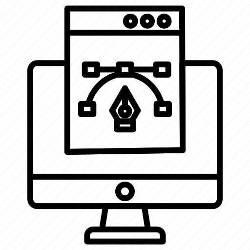 computer, design, monitor, vector icon