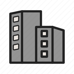 building, business, center, glass, high, office, tower icon