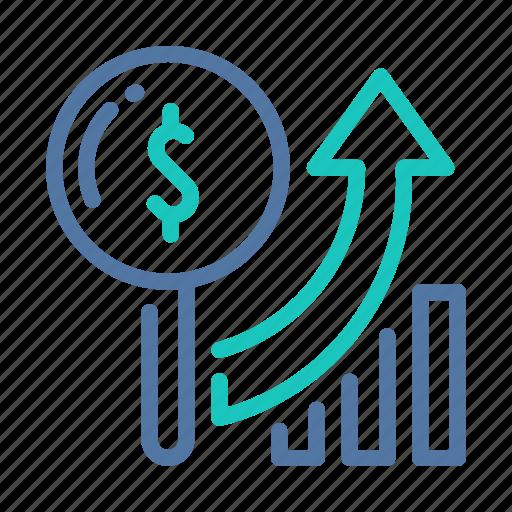 analysis, growing, growth, market, profits, revenue, sales icon