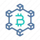 bitcoin, blockchain, crypto, cryptocurrency, decentrilized, network, system icon