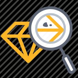 analysis, analytic, analyze, consider, investigate, mark, zoom icon