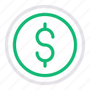coin, currency, dollar, money, saving icon