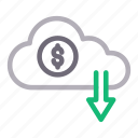 cloud, currency, dollar, download, money icon