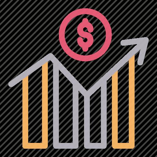 dollar, growth, increase, money, progress icon