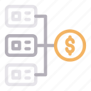connection, dollar, money, network, sharing icon
