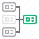 connection, database, network, server, sharing icon