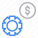 cogwheel, dollar, gear, money, setting