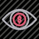 analysis, dollar, eye, money, view