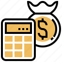 bag, benefit, calculator, money, profit icon