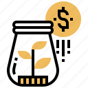 finance, jar, money, plant, reinvest icon