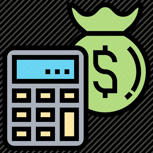 bag, benefit, calculator, money, profit icon