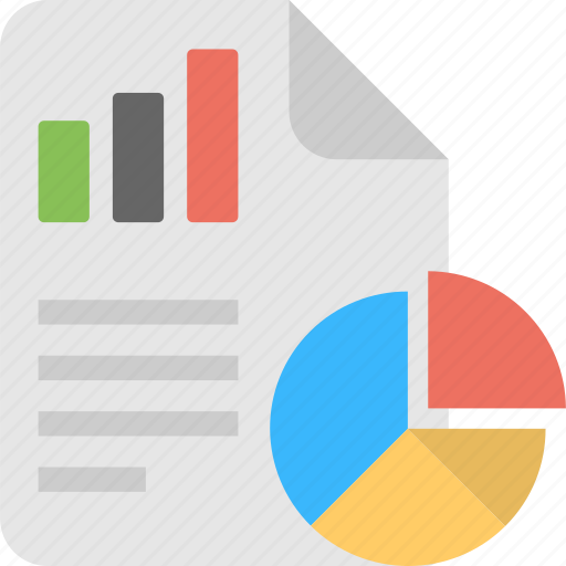 business report, finance graph, report and pie chart, statistical data, stats chart icon