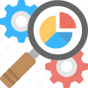 cog and gears, development analysis, integration management, production analysis, working process icon